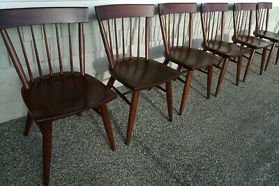 Set of 6 Solid Cherry Willet Mid Century Modern Dining Chairs, Exc Condition