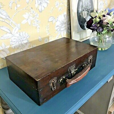 Antique Solid Oak Briefcase With Leather Handle / Oak Box