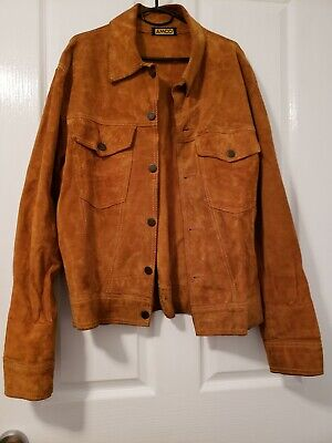 AMCO Suede Leather Jacket Size 40 - Approx Size Large Vintage 1970s Fashion