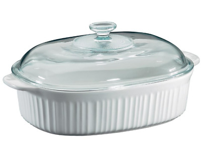 Durable French White 4-Qt Oval Ceramic Casserole Dish Glass Cover - Oven Safe