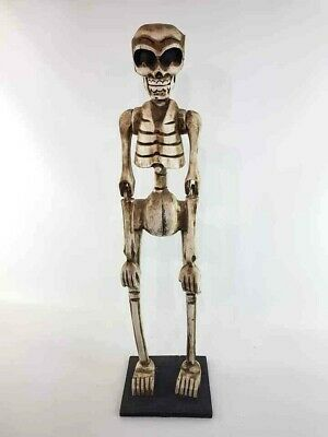 Day of the Dead Wooden Carved Skeleton Statue