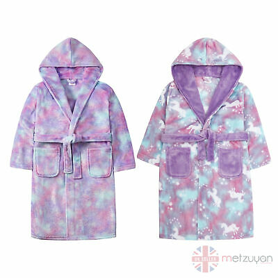 Kids Childrens Girls Novelty Pony Unicorn Hooded Fleece Dressing Gown Robe MLP