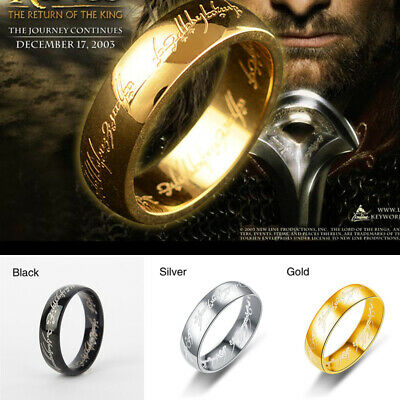 CA Hobbit Lord of the Rings Gold Silver Black Elvish Rune Engraving Ring Band