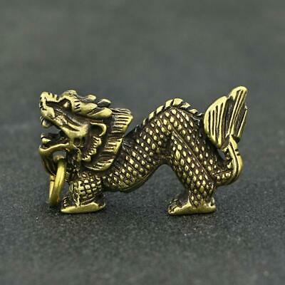 Chinese Old Handwork Brass Dragon Statue Pendant Vintage China Zodiac Gift Toy