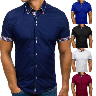 US Mens Slim Fit Muscle Summer Short Sleeve Casual Button-down Formal Shirts Top