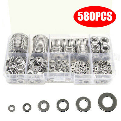 580PCS Washers  M2 M2.5 M3 M4 M5 M6 M8 M10 M12 Flat Kit Assorted Practical Flat