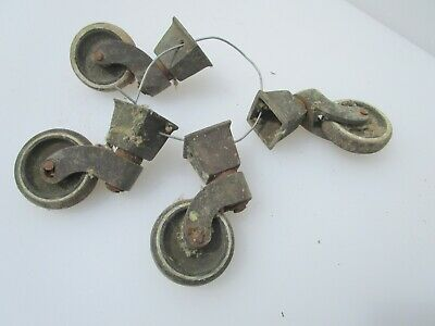 Vintage Brass Furniture Castors Trolley Wheels Cups Old Castor Rubber Antique x4