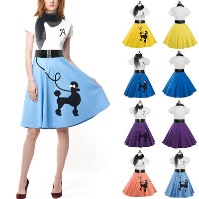 Womens Cotton Poodle Skirt Grease Hairspray Rock N Roll Skirt 1950s Costume Gift