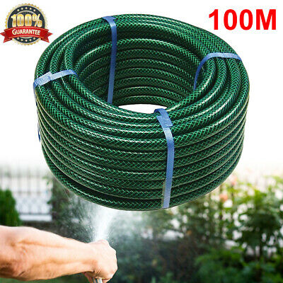 100M Reinforced Garden Hose Pipe Water Pipe Durable Outdoor PVC Hosepipe Green