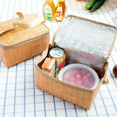 Portable Rattan Lunch Bag Waterproof Thermal Food Storage Box Tote Lunch Bag KY