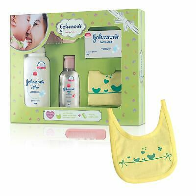 Johnson's Baby Care Collection Baby Gift Set with Organic Cotton Bib & Baby Comb