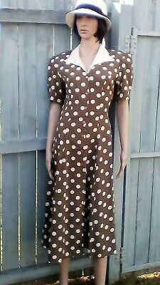 Vintage Katies long olive dress with white spots. Size 12