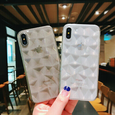Clear TPU 3D Diamond Pattern Soft Silicone/Gel/Rubber Cell Phone Case Cover  New