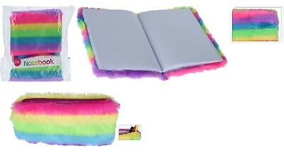 Rainbow Plush Super Soft Furry A5 Notebook 80 Sheets and Furry Pencil Case Set