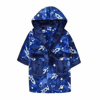 Infant Boys Rocket Space Galaxy Plush Fleece Dressing Gown Robe Hooded Kids New