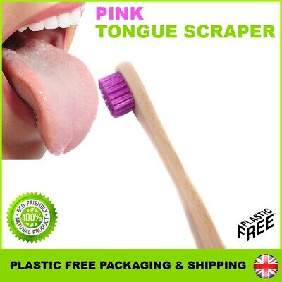 Bamboo Tongue Scraper Cleaner Brush Natural Eco Adult Wood Toothbrush ✅ PINK ✅UK