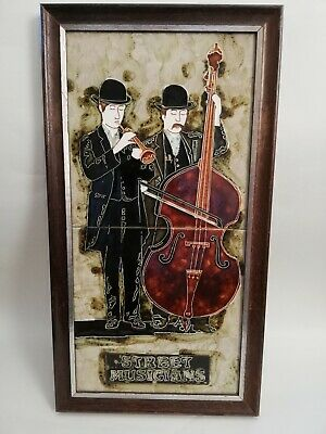 Decorative Wall tiles Framed Tubeline Majolica Hand Painted Tile street musician