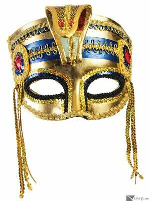 Forum Navy Blue Venetian Masquerade Half Mask With Feathers and Gold Trim 57192