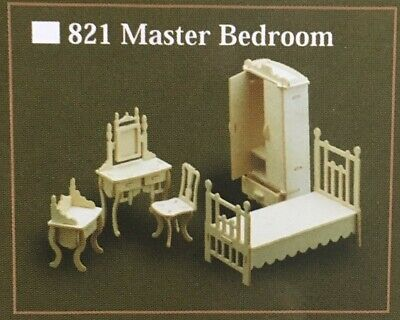1/12th Scale Master Bedroom Furniture Set, Dolls House Miniature