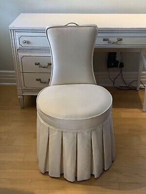 RARE Dorothy Draper HOLLYWOOD REGENCY Swivel Ivory VANITY CHAIR & Brass Accents