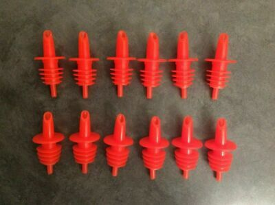 Shaved Ice/Snow Cone Bottle Pour Liquor Spout Red (Count of 12) *Neon Orange*