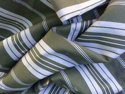 Unused Bolt Vintage French Ticking Fabric Upholstery Sage Green 340 X 205 Cms