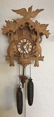 Schatz 8 Day Black Forest German Cuckoo Clock 1960's Works Well - Light Wood