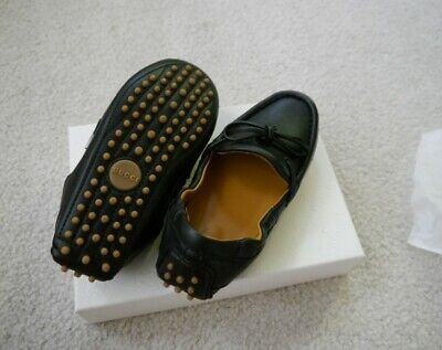 NIB 100% AUTH Gucci Kids Gomma Black Leather Loafer Shoes 371804