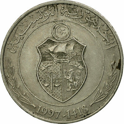 [#536356] Coin, Tunisia, Dinar, 1997/AH1418, Paris, VF(30-35), Copper-nickel