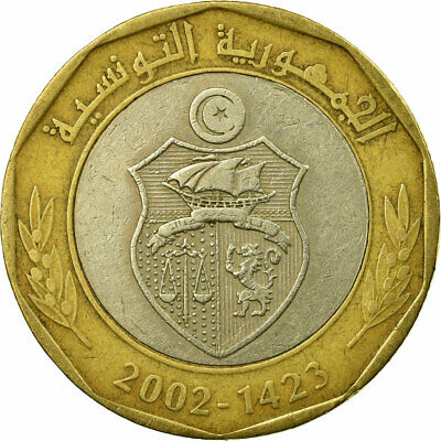 [#673954] Coin, Tunisia, 5 Dinars, 2002, Paris, EF(40-45), Bi-Metallic, KM:444