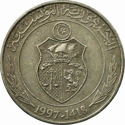 [#686451] Coin, Tunisia, Dinar, 1997/AH1418, Paris, EF(40-45), Copper-nickel