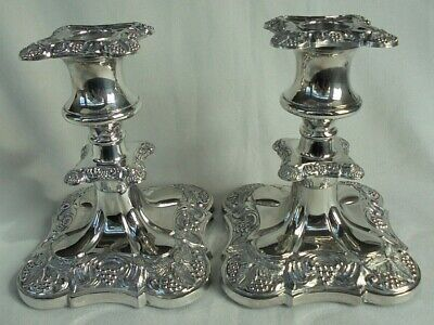 """Pair of Superb Antique Heavy (1.2kg) English Silver Plated (5.25"""") Candlesticks"""
