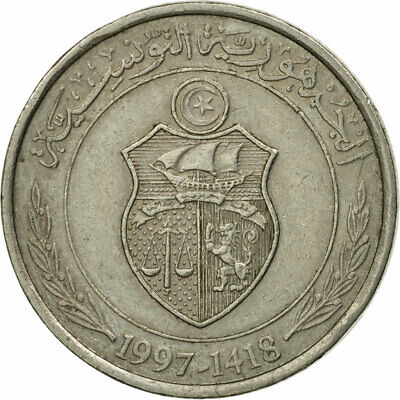 [#536717] Coin, Tunisia, 1/2 Dinar, 1997/AH1418, Paris, EF(40-45)