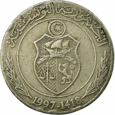[#674091] Coin, Tunisia, 1/2 Dinar, 1997, Paris, VF(30-35), Copper-nickel