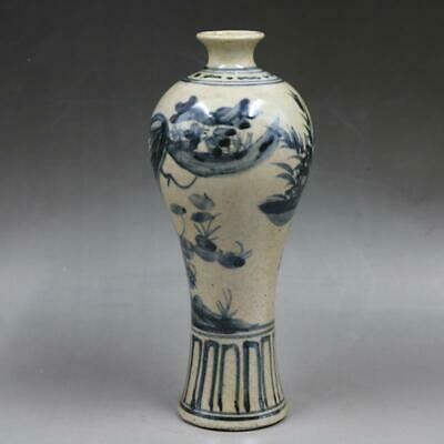 Chinese ancient antique hand make Blue and white  Flower and bird vase