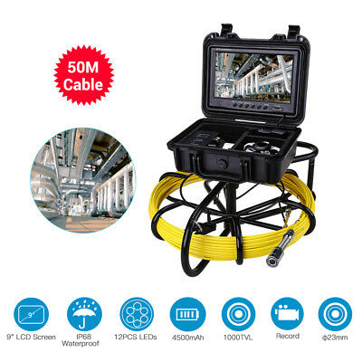 "50M Sewer Camera 9"" IP68 LCD Drain Pipe Pipeline Inspection System 8GB w/ DVR"