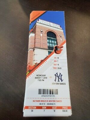 Baltimore Orioles New York Yankees MINT Season Ticket 8/7/19 2019 MLB Stub
