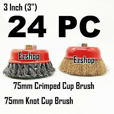 """24 Wire Cup Brush 3"""" (75mm) for 4-1/2"""" (115mm) Angle Grinder Twist Knot Crimped"""
