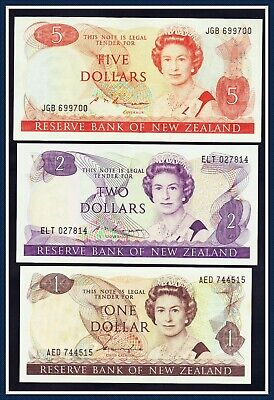 New Zealand 3 Banknotes of the 1980's, $1, $2, and $5 Good Condition