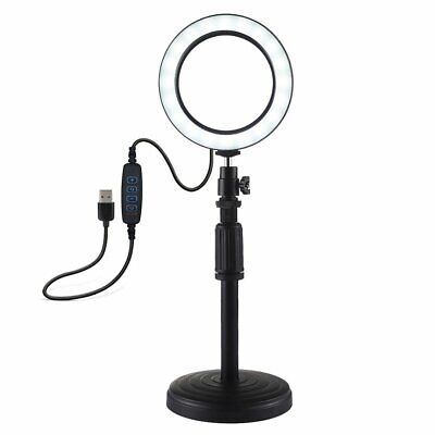 Round Base Desktop Mount+3 Modes Usb Dimmable Led Ring Vlogging Video Light P*