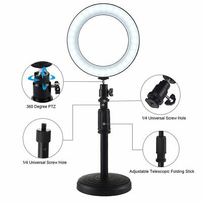 Round Base Desktop Mount + 6.2 Inch Usb Dimmable Led Ring Vlogging Video ZK