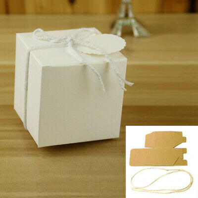 50PCS Wedding Favor Square Gift Box Kraft Paper Candy Box Party Supply
