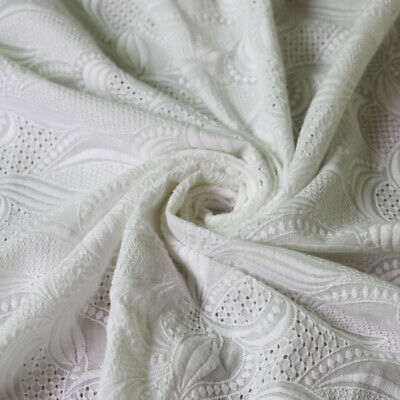 Natural White Cotton Embroidery Guipure Lace Fabric 1 yard*132cm