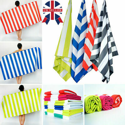 HOT Extra Large Microfibre Beach Towels Striped Bath Towel Speed Dry Lightweight
