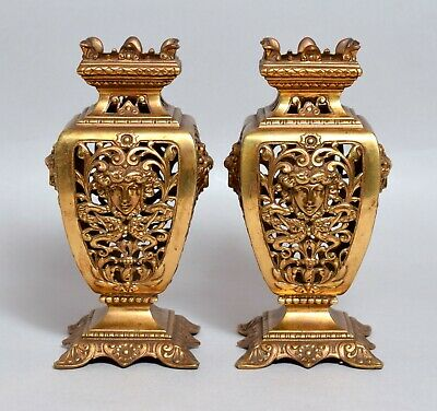 Wonderful Pair Of Antique 19Thc French Gilt Bronze Reticulated Vases, C.1880.