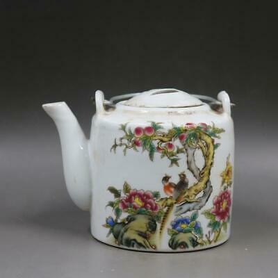 Chinese ancient antique hand make Pastel  Flower and bird  Teapot