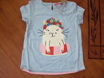 Bnwt Joules Girls Maggie Sky Blue Cat T-Shirt Top Age 5 Yrs.rrp £18.95