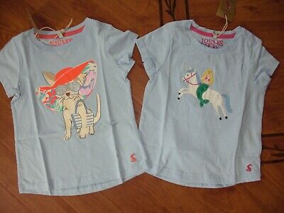 Bnwt Joules Girls Pixie T-Shirt Top Blue Cool Dog Or Unicorn Age 5 Or 11-12 Yrs.