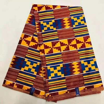 Ankara Fabric Ghana Kente Wax African Kitenge Print Fabric For Cloth in 6 yards