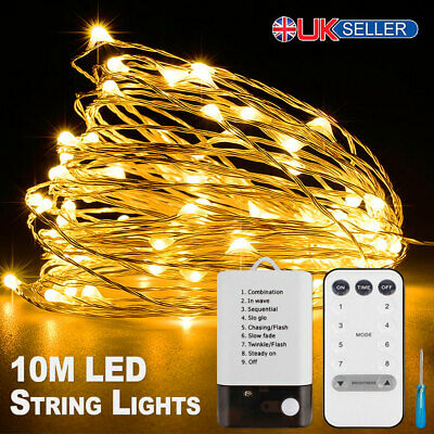 LED String Lights Waterproof 10M Copper Wire Fairy Outdoor Garden Christmas UK